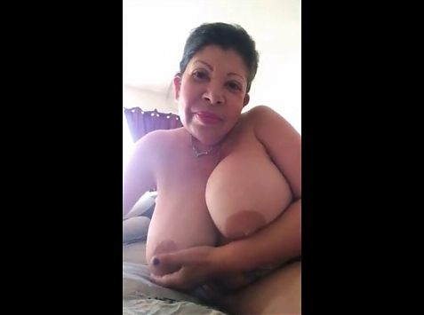 BBW with huge knockers masturbates in front of lover