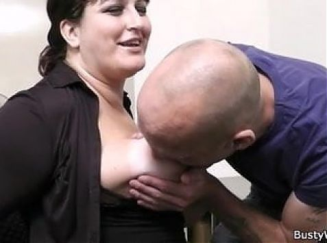 Fat secretary gives head and gets fucked in the office